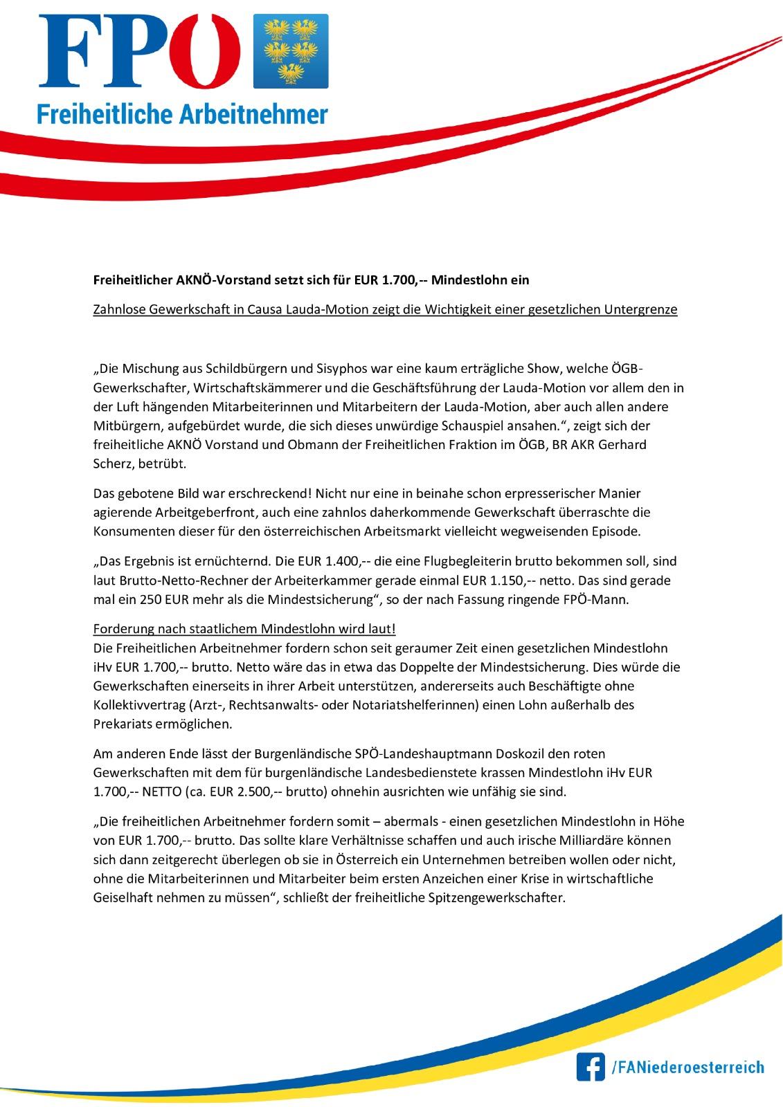Freiheitlicher AKNÖ-Vorstand setzt sich für 1.700 EUR Mindestlohn ein